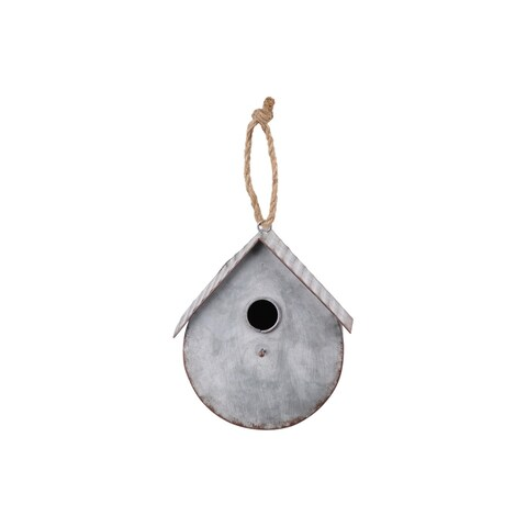 UTC42118: Metal Bird House with Gabled Roof Rope Hanger Galvanized Finish Gray