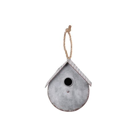 UTC42118: Metal Bird House with Gabled Roof Rope Hanger Galvanized Finish Gray