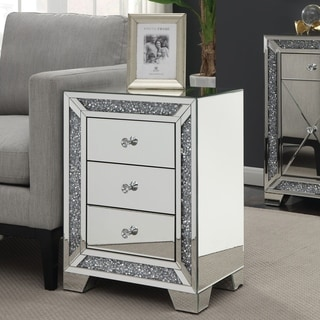 Furniture of America Huck Contemporary Sliver 3-drawer Side Table