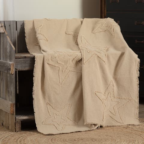Farmhouse Decor VHC Cotton Burlap Star Throw Distressed Appearance