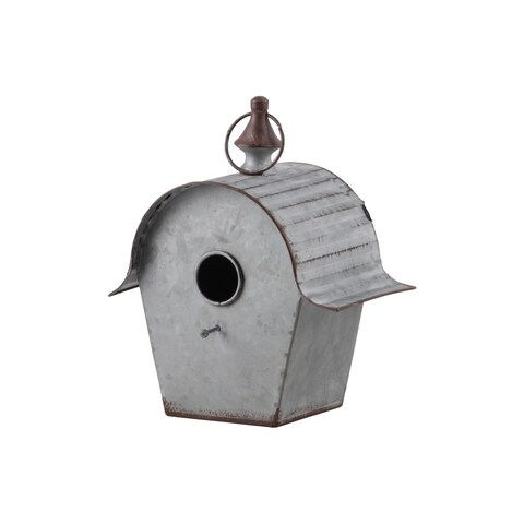 UTC42119: Metal Rectangle Bird House with Ring Hanger,Ribbed Arched Roof and Rustic Edges Galvanized Finish Gray