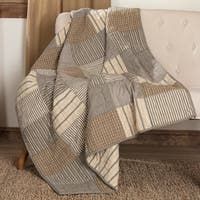 Farmhouse Decor VHC Sawyer Mill Block Throw Rod Pocket Cotton Patchwork Chambray