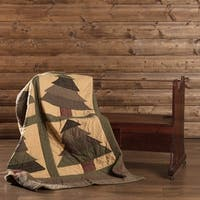 VHC Sequoia Evergreen Green Rustic Christmas Decor Patchwork Quilted Throw