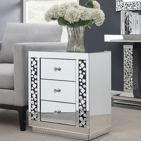 Silver Orchid de Bray Mirrored 3-drawer Side Table