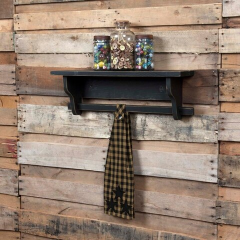 VHC Black Star Raven Primitive Classic Country Tabletop & Kitchen Button Loop Kitchen Towel
