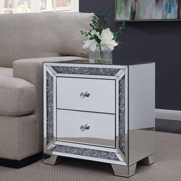 Exceptionnel Furniture Of America Aarika Mirrored 2 Drawer Side Table