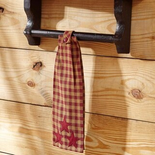 VHC Burgundy Star Red Primitive Classic Country Tabletop & Kitchen Button Loop Kitchen Towel
