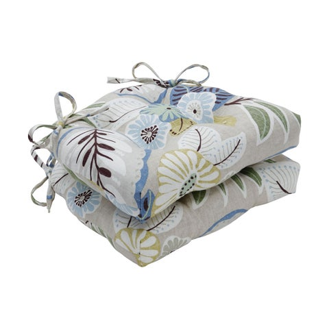 Pillow Perfect Indoor Tracey Beachcomber Reversible Chair Pad (Set of 2)