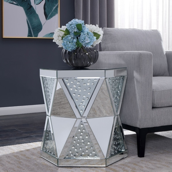 Silver Orchid Fellowes Mirrored End Table