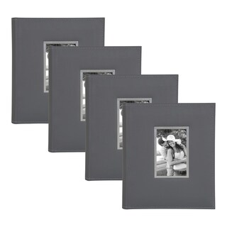 DesignOvation Sleek Faux Leather Photo Album Set