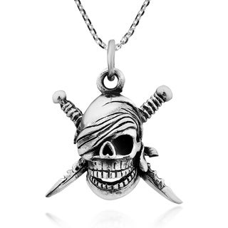 Handmade Pirate Skull Crossed Sterling Silver Necklace (Thailand)