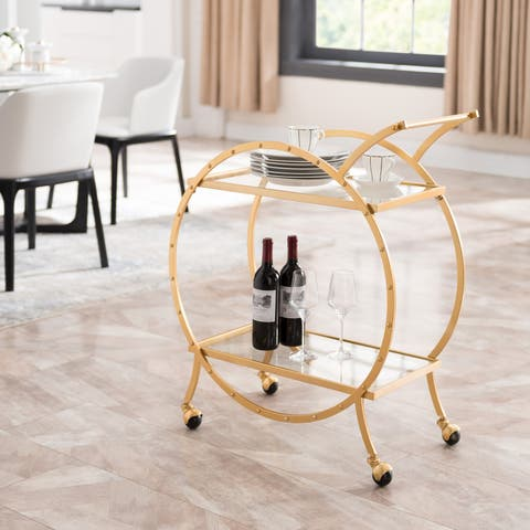 The Curated Nomad Hartau Art Deco Round Bar Cart