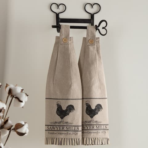 Tan Farmhouse Tabletop Kitchen VHC Sawyer Mill Poultry Kitchen Towel Set of 2 Fabric Loop Cotton Nature Print Stenciled - 18x6.5