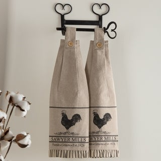 VHC Sawyer Mill Farmhouse Country Tabletop & Kitchen Poultry Button Loop Housewarming Kitchen Towel Set of 2