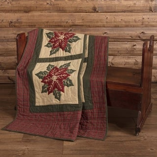 VHC National Quilt Museum Poinsettia Block Khaki Tan Traditional Christmas Decor Patchwork Quilted Throw