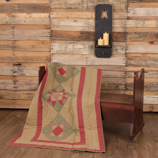 vhc dolly star natural tan primitive christmas decor patchwork quilted throw