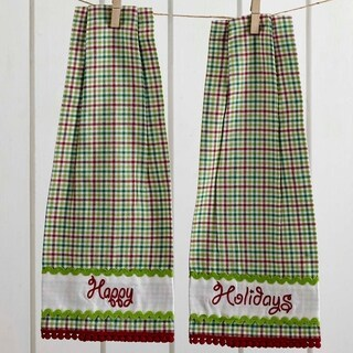 VHC Whimsical Christmas Bright Green Holiday Tabletop & Kitchen Button Loop Kitchen Towel Set of 2