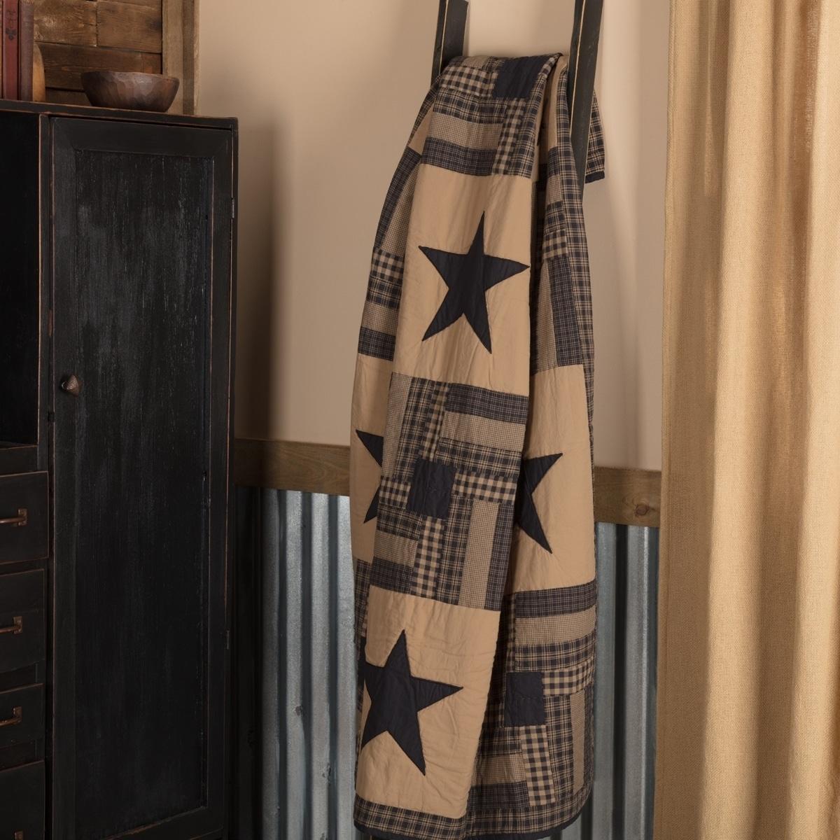 Black Primitive Decor Vhc Black Check Star Throw Rod Pocket Cotton Star Appliqued