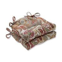 Pillow Perfect  Indoor Crazy Rosewood Reversible Chair Pad (Set of 2)