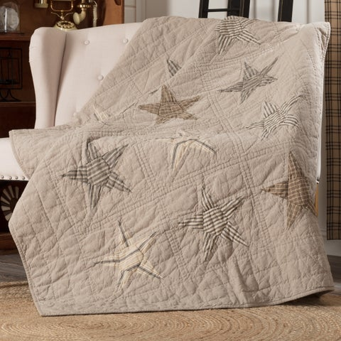 VHC Sawyer Mill Star Khaki Tan Farmhouse Americana Decor Independence Day/4th of July Quilted Throw