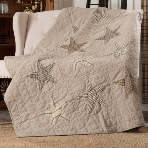 Tan Farmhouse Decor VHC Sawyer Mill Star Throw Rod Pocket Cotton Star Patchwork Chambray