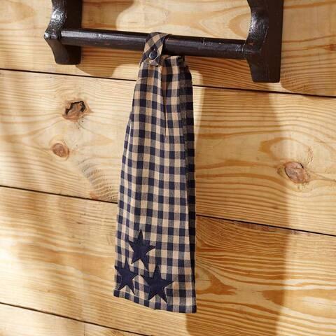 Blue Primitive Tabletop Kitchen VHC Navy Star Kitchen Towel Fabric Loop Cotton Star Appliqued - 18x18