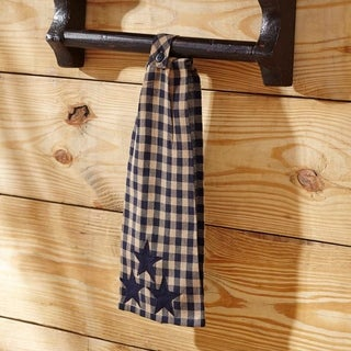 VHC Navy Star Blue Primitive Classic Country Tabletop & Kitchen Button Loop Kitchen Towel