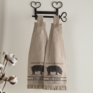 VHC Sawyer Mill Farmhouse Country Tabletop & Kitchen Pig Stenciled Housewarming Button Loop Kitchen Towel Set of 2