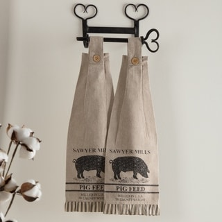 Tan Farmhouse Tabletop Kitchen VHC Sawyer Mill Pig Kitchen Towel Set of 2 Fabric Loop Cotton Nature Print Stenciled - 18x6.5