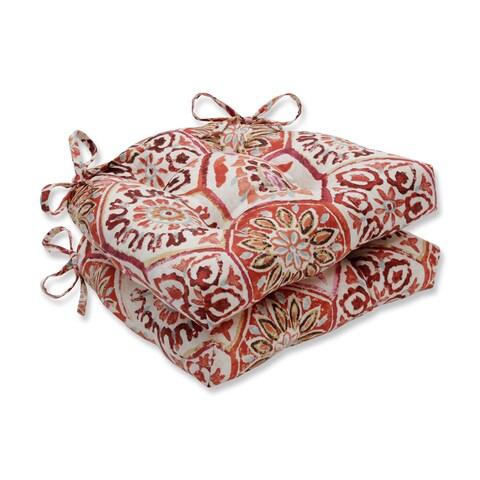 Pillow Perfect Indoor Summer Breeze Crimson Reversible Chair Pad (Set of 2)