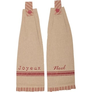 VHC Joyeux Khaki Tan Holiday Christmas Tabletop & Kitchen Button Loop Kitchen Towel Set of 2