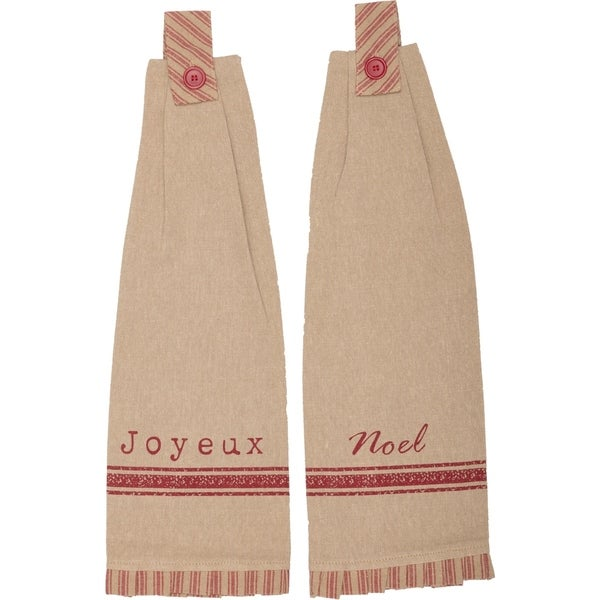Tan French Country Holiday Decor VHC Joyeux Kitchen Towel Set of 2 Fabric Loop Cotton Text Distressed Appearance - 18x6.5