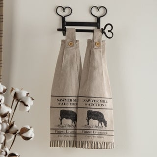 VHC Sawyer Mill Farmhouse Country Tabletop & Kitchen Cow Button Loop Housewarming Kitchen Towel Set of 2