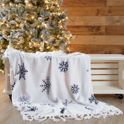 White Farmhouse Christmas Holiday Decor VHC Winter Morning Throw Cotton Nature Print Stenciled