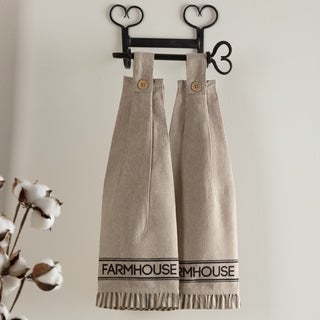 Tan Farmhouse Tabletop Kitchen VHC Sawyer Mill Kitchen Towel Set of 2 Fabric Loop Cotton Text Stenciled Chambray