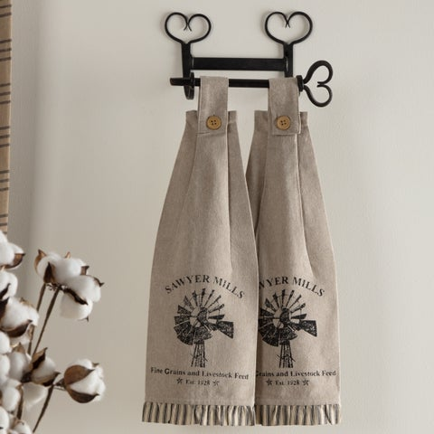 VHC Sawyer Mill Farmhouse Country Tabletop & Kitchen Windmill Button Loop Housewarming Kitchen Towel Set of 2