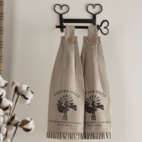 Tan Farmhouse Tabletop Kitchen VHC Sawyer Mill Windmill Kitchen Towel Set of 2 Fabric Loop Cotton Graphic-Print Chambray