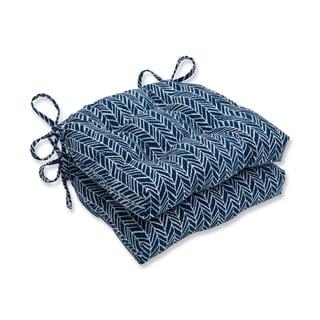 Pillow Perfect  Indoor Herringbone Ink Blue Reversible Chair Pad (Set of 2)