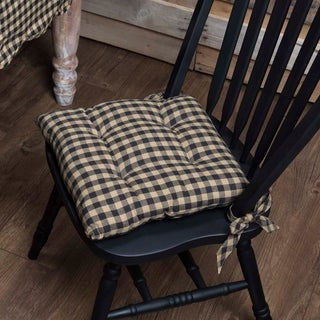 Black Primitive Tabletop Kitchen VHC Black Check Chair Pad Cotton Check