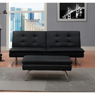 DHP Chelsea Black Sectional Futon with Ottoman