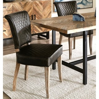 Quilted Design Upholstered Dining Chairs with Hand Applied Nail Head Trim (Set of 2)