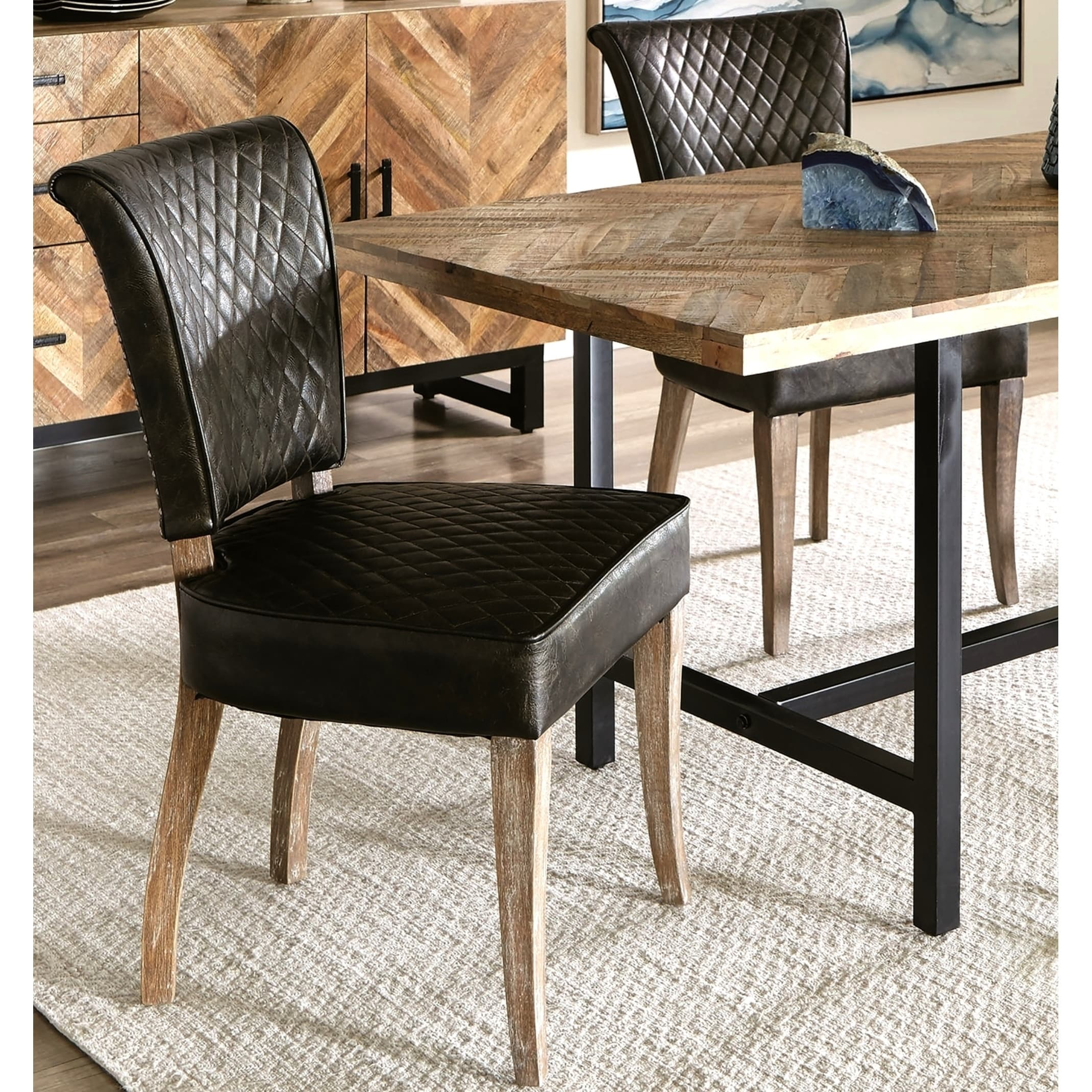 Quilt Design Rustic Upholstered Dining Chairs With Nail Head Trim Set Of 2