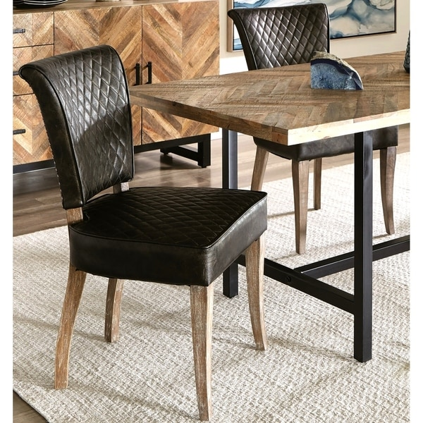 Shop Quilt Design Rustic Upholstered Dining Chairs with ...