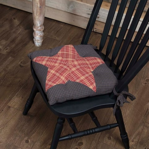 Red Americana Tabletop Kitchen VHC Arlington Patchwork Star Chair Pad Cotton Star Patchwork