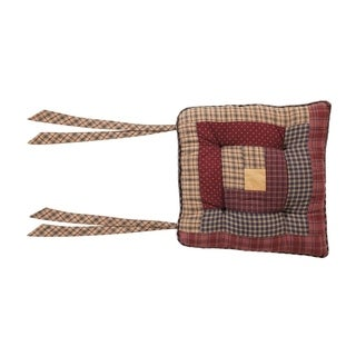 VHC Millsboro Burgundy Red Rustic & Lodge Tabletop & Kitchen Log Cabin Patch Chair Pad