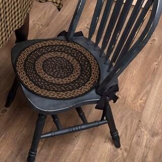 Black Primitive Tabletop Kitchen VHC Farmhouse Chair Pad Set of 6 Jute