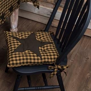Black Primitive Tabletop Kitchen VHC Black Star Chair Pad Cotton Star Appliqued