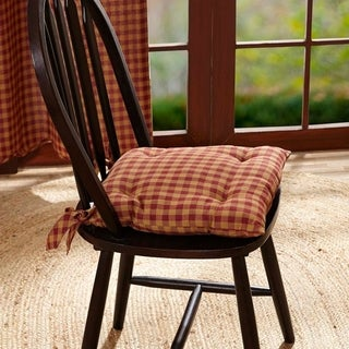 VHC Burgundy Check Red Primitive Classic Country Tabletop & Kitchen Chair Pad