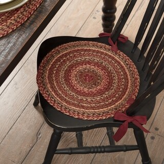 VHC Cider Mill Burgundy Red Primitive Country Tabletop & Kitchen Jute Chair Pad Set of 6