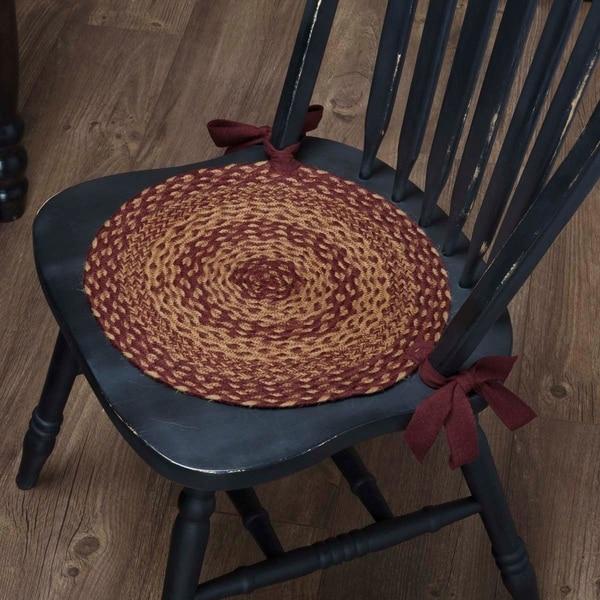 Red Primitive Tabletop Kitchen VHC Burgundy Tan Jute Chair Pad Set of 6 Jute